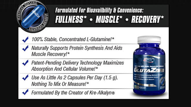 Formulated For Bioavailability & Convenience. -100% Stable, Concentrated L-glutamine!* -Naturally Supports Protein Synthesis And Aids Muscle REcovery!* -Patent-Pending Delivery Technology Maximizes Absorptions And Cellular Volume!* -Use As Little As 2 Capsiles Per Day (1.5 g). Nothing To Mix Or Measure!* -Formulated By the Creator of Kre-Alkalyn®