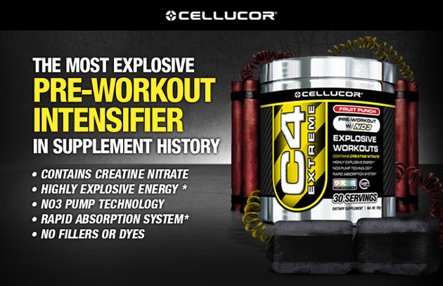 Cellucor C4 Extreme: The Most Explosive Pre-Workout Intensifier In Supplement History! Contains Creatine Nitrate, Highly Explosive Energy,* NO3 Pump Technology, Rapid Absorption System,* No Fillers or Dyes.