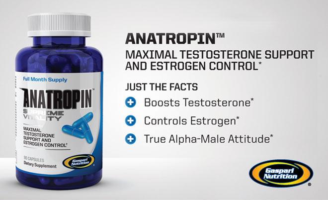 Gaspari Nutrition Anatropin - Maximal Testosterone Support And Estrogen Control* - Just The Facts: Boosts Testosterone*, Controls Estrogen*, True Alpha-Male Attitude*