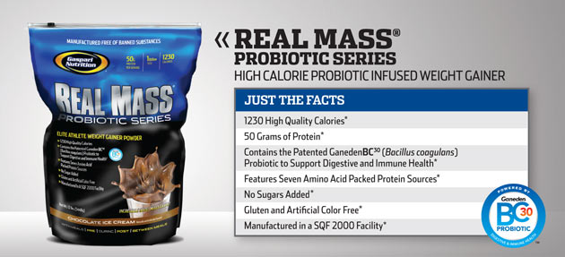Gaspari Nutrition REAL MASS Probiotic Series High Calorie Probiotic Infused Weight Gainer