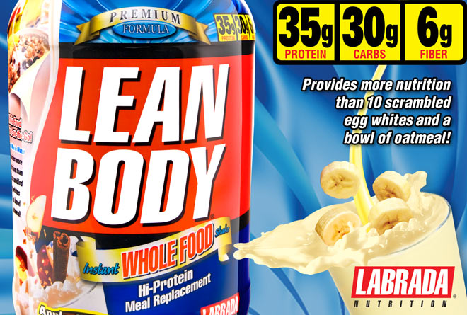 Labrada Lean Body Instant Whole Food Shake Provides more nutrition than 10 scrambled egg whites and a bowl of oatmeal!