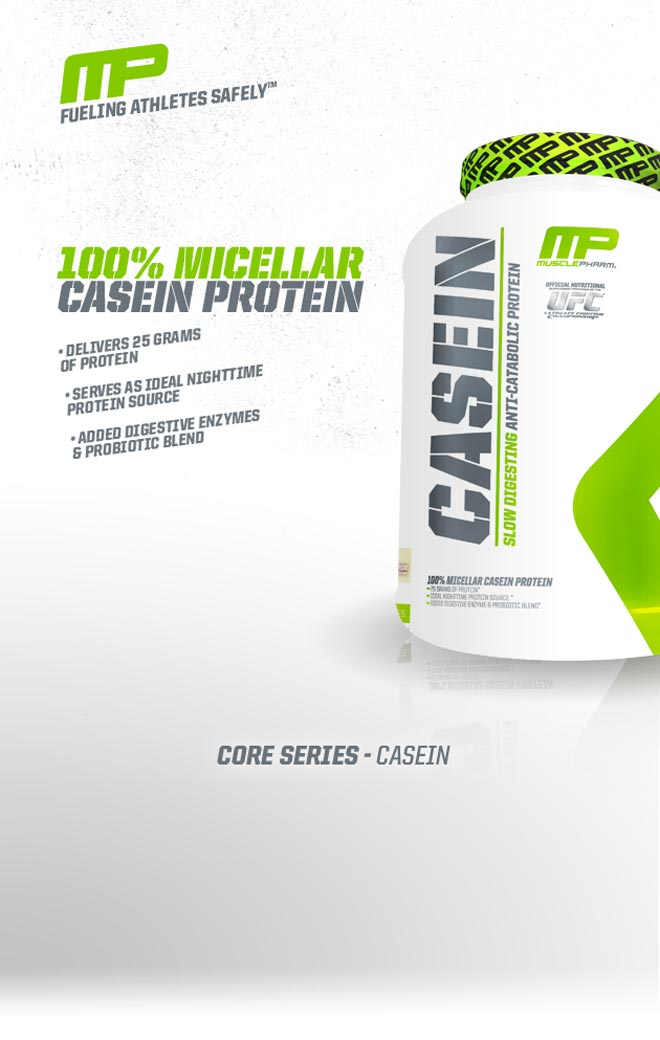 Fueling Athletes Safely. 100% Micellar Casein Protein. - Delivers 25 Grams of protein. - Serves as ideal nighttime protein source. - Added digestive enzymes and probiotic blend. Core Series Casein.
