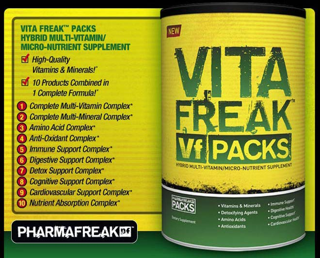 VITA FREAK PACKS HYBRID MULTI-VITAMIN/MICRO-NUTRIENT SUPPLEMENT -High Quality Vitamins and Minerals!* -10 Products Combined in 1 Complete Formula!* 1.Complete Multi-Vitamin Complex 2. Complete Multi-Mineral Complex 3. Amino Acid Complex 4. Anti-Oxidant Complex 5. Immune Support Complex 6. Digestive Support Complex 7. Detox Support Complex 8. Cognitive Support Complex 9. Cardiovascular Support Complex 10. Nutrient Absorption Complex*