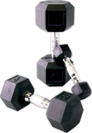 Cap Barbell Rubber Hex Dumbbell Set - 5-25 Lbs.
